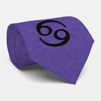 Cancer Zodiac Sign Purple Tie