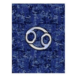 Cancer Zodiac Symbol Navy Blue Digital Camouflage Postcard