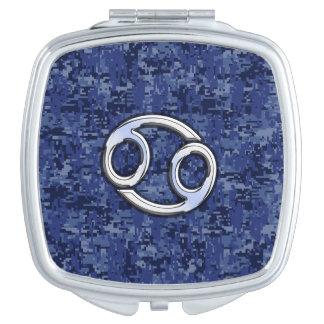 Cancer Zodiac Symbol Navy Blue Digital Camouflage Travel Mirror