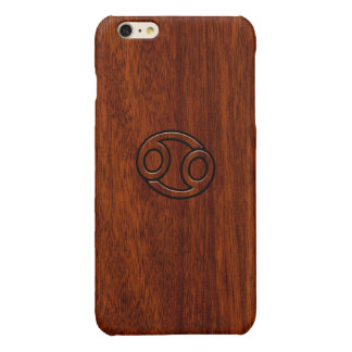 Cancer Zodiac Symbol on Mahogany Wood Style