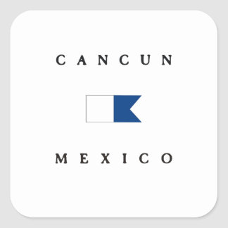 Cancun Mexico Alpha Dive Flag Square Sticker
