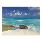 Cancun Mexico Beach Rocky Ocean Waves Postcard