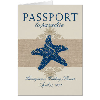 Cancun Mexico Passport Bridal Shower Card