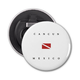 Cancun Mexico Scuba Dive Flag Button Bottle Opener