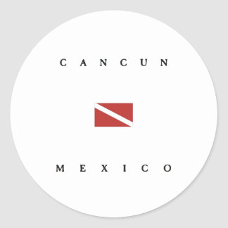 Cancun Mexico Scuba Dive Flag Classic Round Sticker
