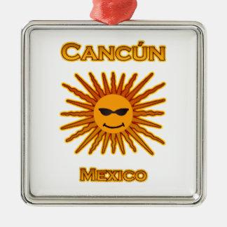 Cancun Mexico Sun Face Icon Metal Ornament