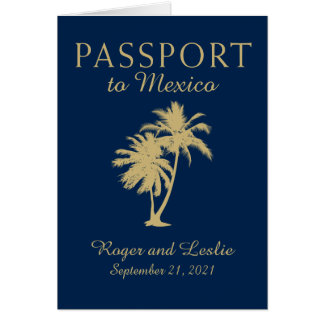 Cancun Mexico Wedding Passport Card