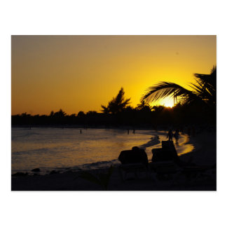 CANCUN Ocean Sunset Travel Postcard