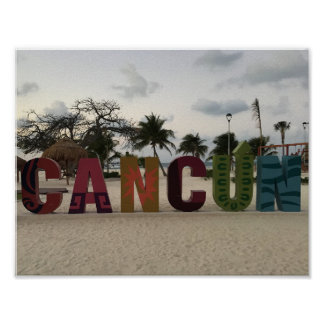 Cancun Sign – Playa Delfines, Mexico Poster