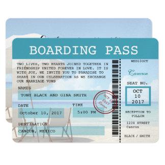 Cancun Wedding Boarding Pass Invitation