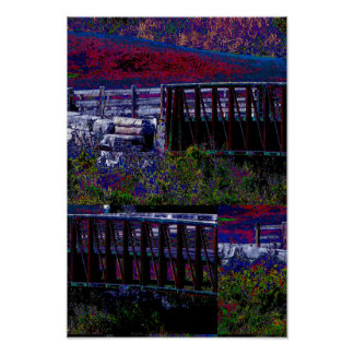 Candian Fall Colorful Nature Bridge Night view Poster