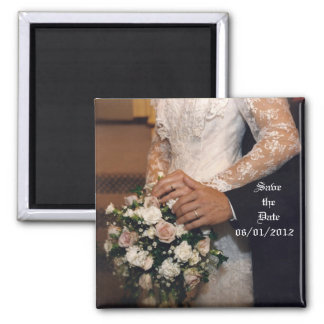 Candid Bouquet Save the Date Square Magnet