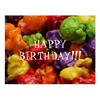 Candied Popcorn Happy Birthday Postcard