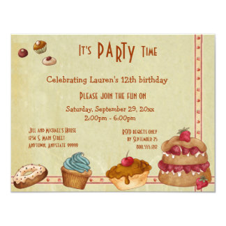 Candies And Sweet Treats Party Invites