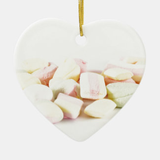 Candies marshmallows ceramic heart ornament