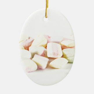 Candies marshmallows ceramic oval ornament