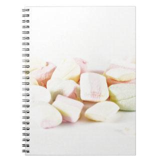 Candies marshmallows notebooks