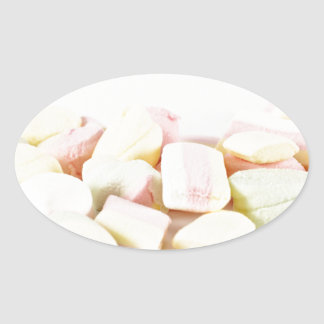 Candies marshmallows oval sticker