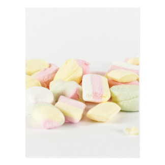 Candies marshmallows postcard