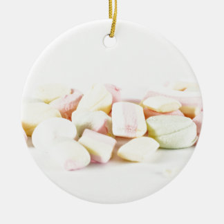 Candies marshmallows round ceramic ornament