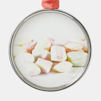Candies marshmallows Silver-Colored round ornament