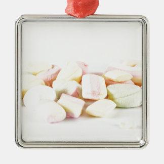 Candies marshmallows Silver-Colored square ornament