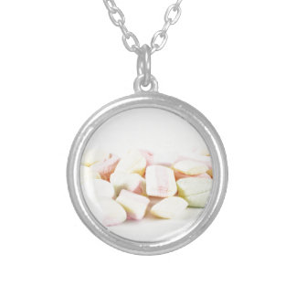 Candies marshmallows silver plated necklace