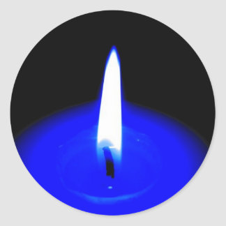 candle blue resized round sticker