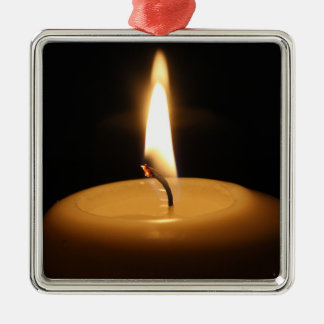 Candle Burning Premium Square Ornament