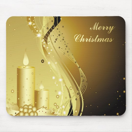 Candle Christmas Holly on Sparkling Background Mouse Pad