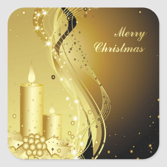 Candle Christmas Holly on Sparkling Background Square Sticker