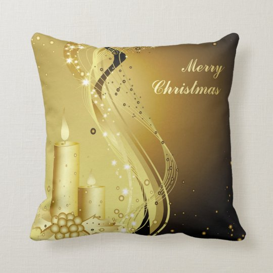 Candle Christmas Holly on Sparkling Background Throw Pillow