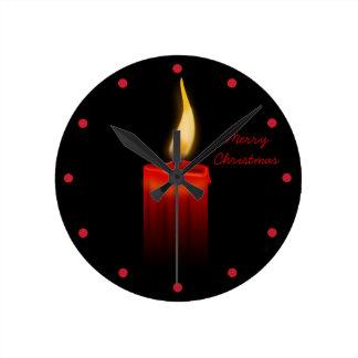Candle Flame at Night Christmas Joy and Hope Wall Clock