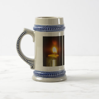 candle flame beer stein