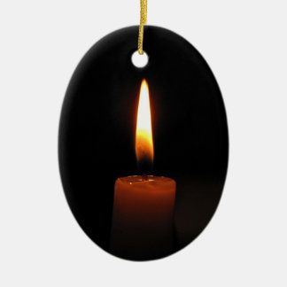 Candle Flame Ceramic Oval Ornament