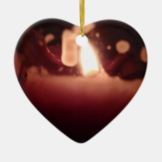 candle flame heart ceramic heart ornament