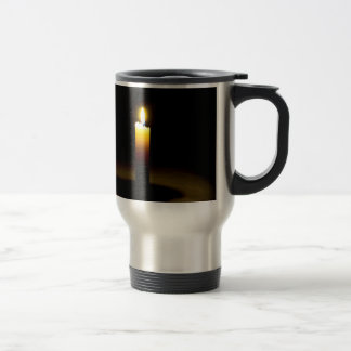 Candle, flame. stainless steel travel mug