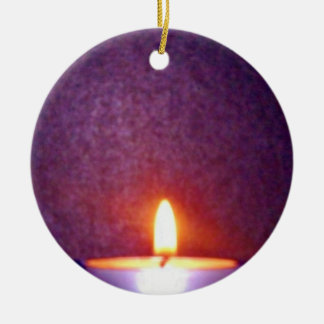 Candle flame round ceramic ornament
