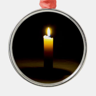 Candle, flame. Silver-Colored round ornament