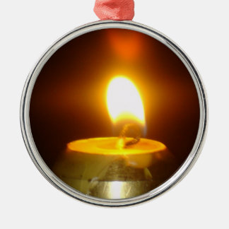 candle flame Silver-Colored round ornament