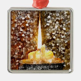 Candle Flame Silver-Colored Square Ornament