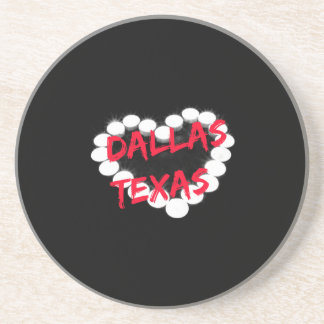 Candle Heart Design For Dallas, Texas Drink Coaster