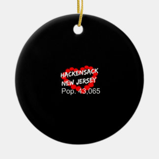 Candle Heart Design For Hackensack, New Jersey Round Ceramic Ornament
