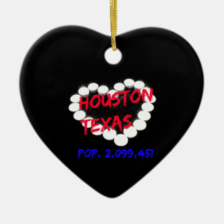 Candle Heart Design For Houston, Texas Ceramic Ornament