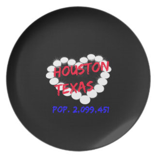 Candle Heart Design For Houston, Texas Plate