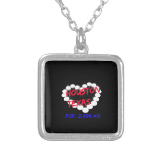 Candle Heart Design For Houston, Texas Silver Plated Necklace