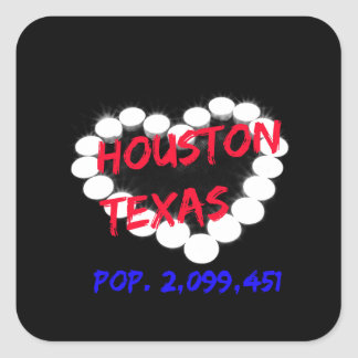Candle Heart Design For Houston, Texas Square Sticker