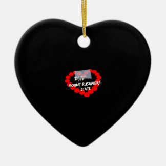 Candle Heart Design For South Dakota State Ceramic Heart Ornament