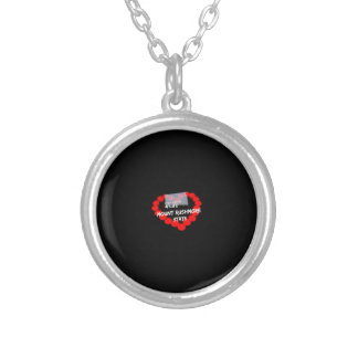 Candle Heart Design For South Dakota State Silver Plated Necklace
