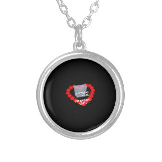 Candle Heart Design For The State of Arkansas Silver Plated Necklace